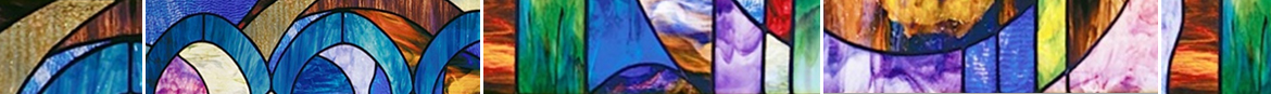 """Our banner is based on BEKI's stained glass, designed in 2008 by Cynthia Beth Rubin. For information on this and other of Cynthia's work, go to: <a href=""""http://www.cbrubin.net"""" target=""""_blank"""">www.cbrubin.net</a>. Artisan Fabrication by JC Glass of Branford, CT"""